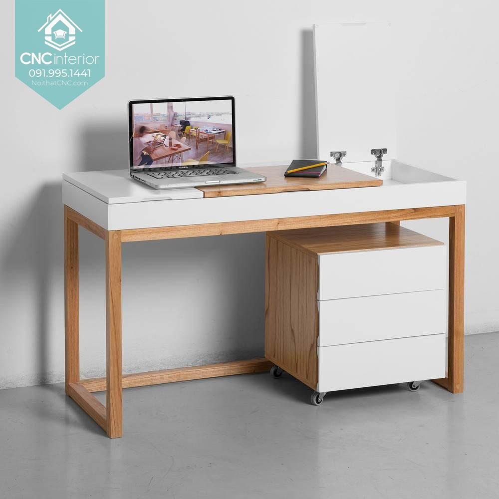 Sự kết hợp hoàn hảo giữa tone màu trắng và vân gỗ trong bàn làm việc hiện đại