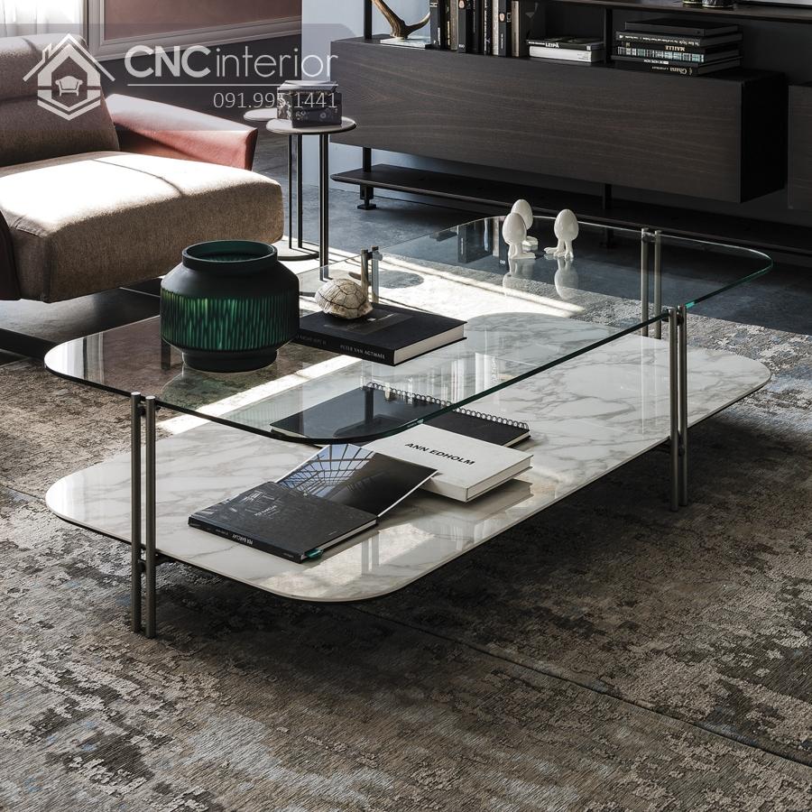 bàn trà sofa mặt kính 2 tầng CNC 31 2