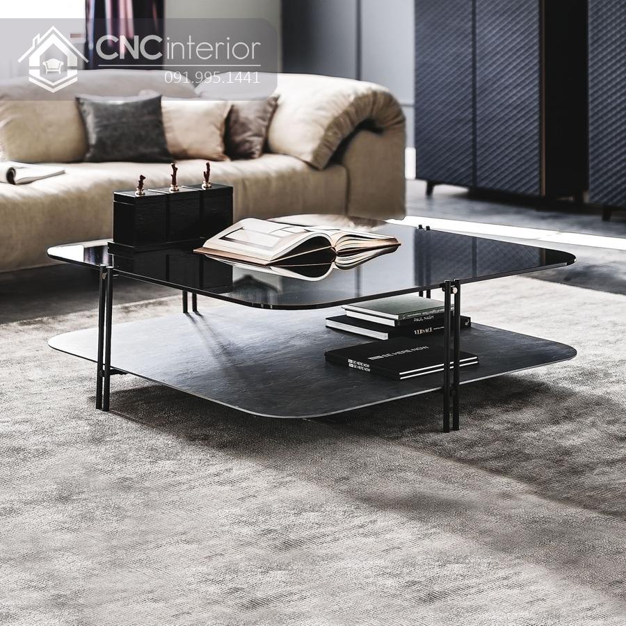 bàn trà sofa mặt kính 2 tầng CNC 31 1