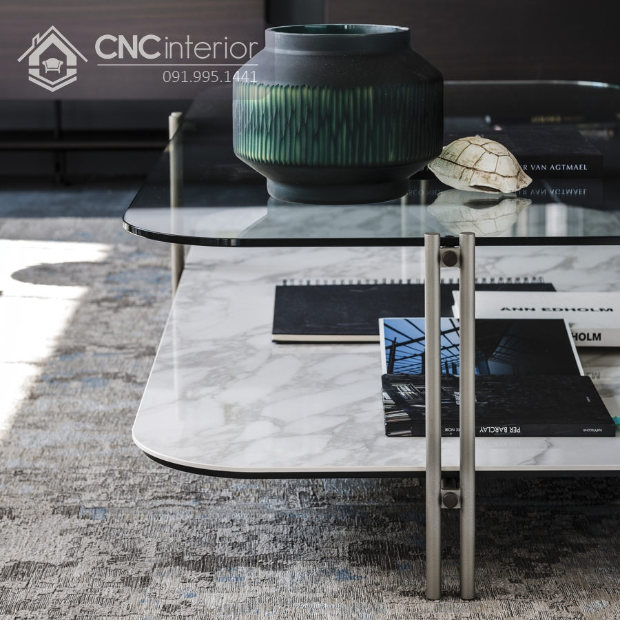bàn trà sofa mặt kính 2 tầng CNC 31 3