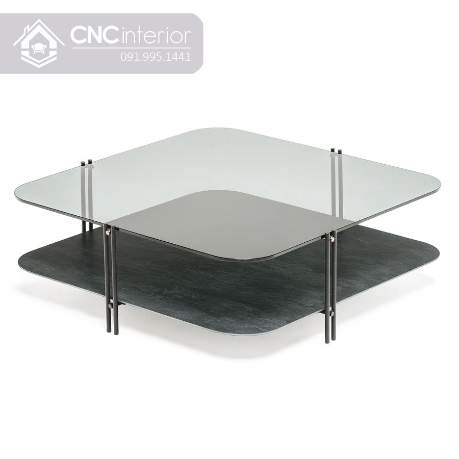 Kích thước bàn trà sofa mặt kính 2 tầng CNC 31 6