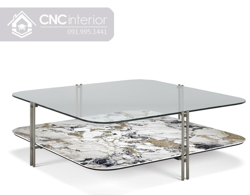 Bàn trà sofa mặt kính 2 tầng CNC 31 4