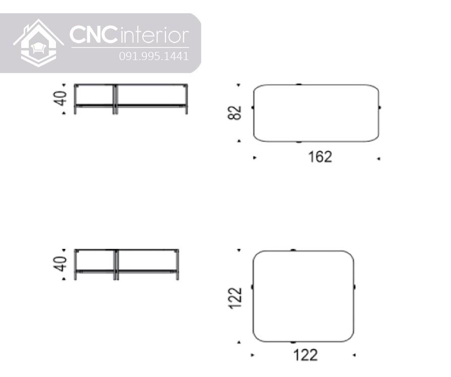 Kích thước bàn trà sofa mặt kính 2 tầng CNC 31 7